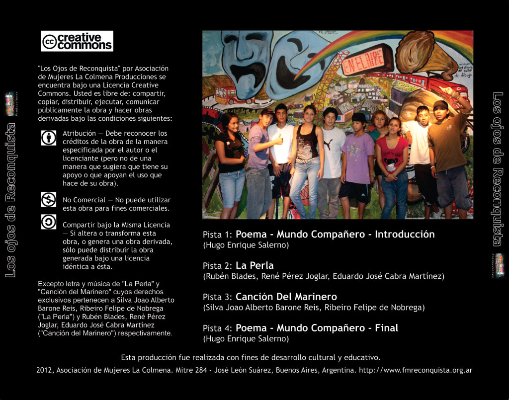 Contratapa CD - Los Ojos de Reconquista